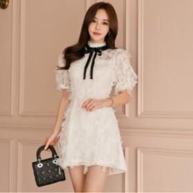 ミニドレス ワンピース シフォン ミニ丈 半袖 袖あり 20代 白 ミニドレス ワンピース 韓国 ミニドレス ワンピース 無地 Aライン 透け感