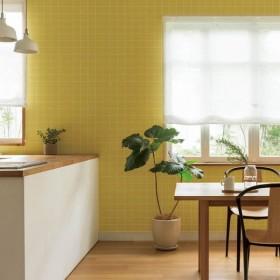 壁紙屋本舗 のりなし 壁紙 おしゃれ シンプル タイル 黄色 イエロー スクエア スクエアタイル SLL-5004 LL-5004 1m単位 切売