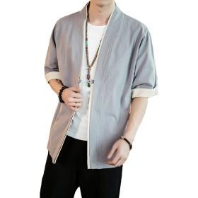 HAPPYJP メンズ 半袖 開襟シャツ 5分袖 カジュアル トップス ゆったり 無地 和風 綿麻 夏 春 秋 M~5XL (グレー, M)