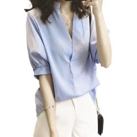 [シーポン]ストライプ Vネック ふんわり袖 後ろボタン キレイ シャツ (XL)