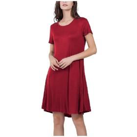 AngelSpace 女性プラスサイズ固体半袖ポケットミディクラブパーティードレス Red S