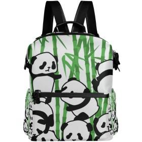リュック レディース メンズ 軽量 大容量 パンダ柄 動物柄 グリーン ファスナー リュックサック pc ipad 収納 高校生 中学生 子供 旅行 山登り 遠足 アウトドア 短期出張 バッグ