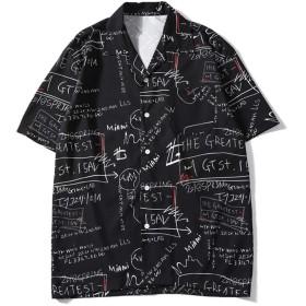MIMIPO シャツ メンズ 半袖 花柄シャツ 開襟シャツ 軽量 通気速乾 オシャレ 春 夏 大きいサイズ S-2XL(Black-M)