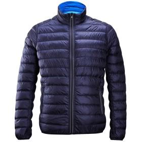 ダウンジャケット メンズ リバーシブル ダウンコート アウター 冬服 無地 立ち襟 軽量 ネイビー XXL