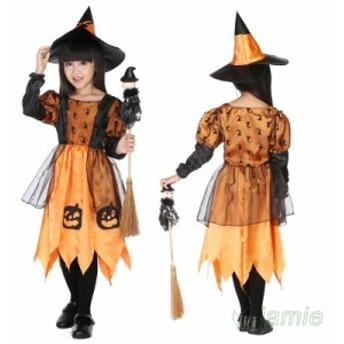 ハロウィン 魔女 子供用 コスチューム ステージ仮装 キッズ ワンピース カボチャ コスプレ 魔女服 仮装 パーティー