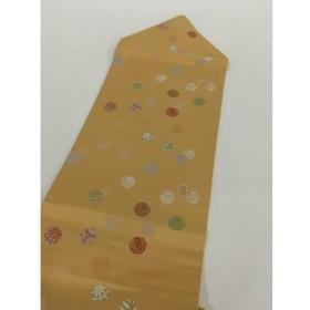 着物 美品 名品 名古屋帯 黄土色 毬 正絹  リサイクル バイセル
