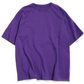 Azue Tシャツ 半袖 メンズ シャツ カットソー ロンTクルーネック 丸首 無地 速乾 柔らかい 軽いシンプル スリム パープル4L