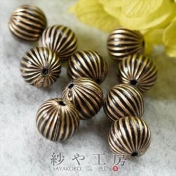 アクリルビーズ 高品質 筋入り ボール 10mm ブラック×ゴールドライン 10個 10ヶ 約1cm ビーズ 通し穴付き 丸玉 アクセサリー アクセサリ