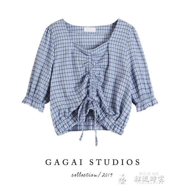 夏季新款韓版寬鬆半袖抽繩短袖上衣小清新方領短款襯衫女
