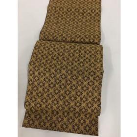 着物 名品 袋帯 金色 草花 菊 幾何学 金糸 六通 正絹  リサイクル バイセル