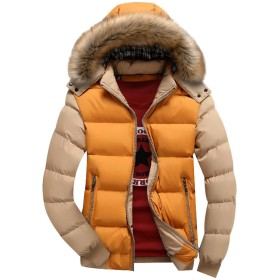 JinNiu メンズ ダウンコート フード付き 毛襟付き 中綿 コート 軽量 大きいサイズ アウトドア 防寒コート 軽量 ダウンジャケット 着やすい 柔らかい タートルネック ダウンジャケット 柔らかい 上品 高品質 防寒コート 冬の暖かいコート A L