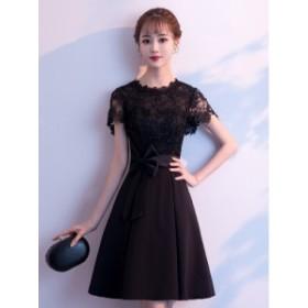 パーティードレス 大きいサイズ 結婚式 二次会 ワンピース お呼ばれドレス 袖あり 半袖 ドレス ワンピース 黒 レース ドレス