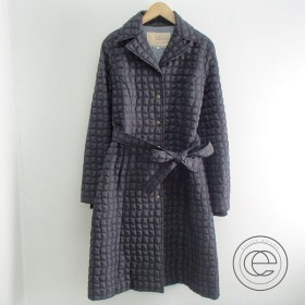 ◯Sybillaシビラ ブロック柄 ウエストベルト付 袖口リブ キルティング中綿コート M ブラック レディース