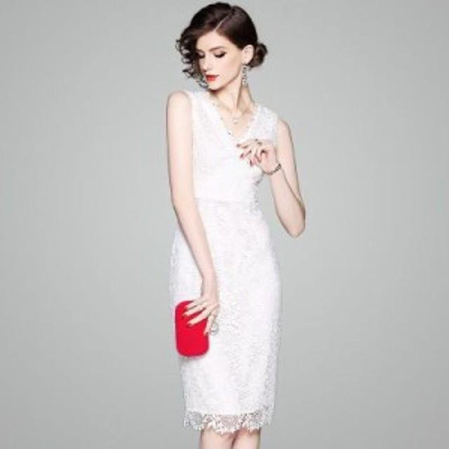 上品 ひざ丈タイトドレス パーティー ドレス お呼ばれ レース ひざ丈 30代 40代 シンプル