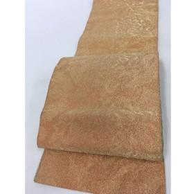 着物 優品 袋帯 オレンジ 花 引箔 全通 正絹  リサイクル バイセル PK40