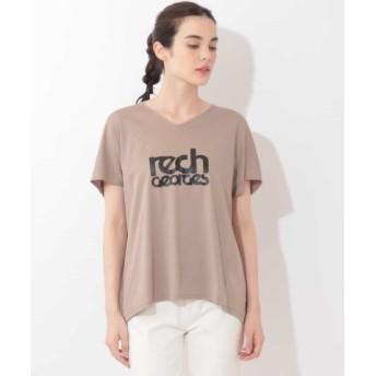 (GEORGES RECH/ジョルジュ レッシュ)【洗濯機OK】VネックロゴTシャツ/レディース ベージュ 送料無料