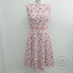 未使用 17SS   TOCCAトッカ OPTOHM0320 NADENA ドレス/小花柄刺繍 ノースリフレアワンピース 2 ピンク×パープル系 レディース