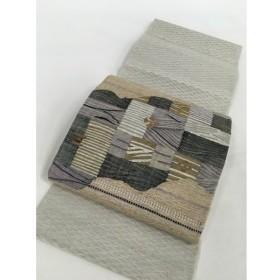 着物 名品 袋帯 灰白 草花 幾何学 道長取り くし織風 お太鼓柄 正絹  リサイクル バイセル  PK70