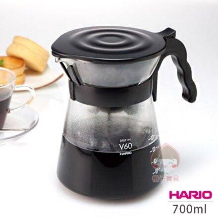 【日本Hario】V60錐形冷熱兩用玻璃咖啡壺_700ml (1~4杯用)‧日本製