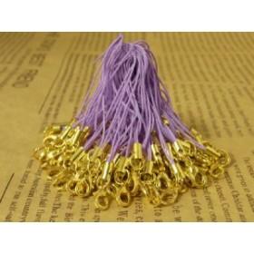 カニカン付き携帯ストラップ100本セット薄紫パープル×金ゴールド