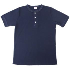 Healthknit ヘルスニット #601S ベーシックワッフル ヘンリーネック 半袖Tシャツ M、ネイビー