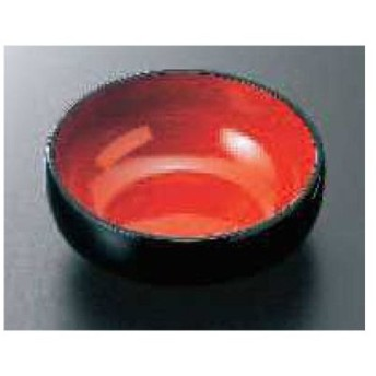 4寸 丸鉢 (段付) 黒内朱/業務用/新品