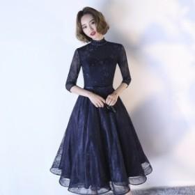 20代 30代 袖あり 上品 フレア ミモレ丈 ワンピースドレス 結婚式 二次會 お呼ばれ 発表會 ドレス パーティー 可愛い