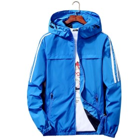 Qingxian ジャケット メンズ ウィンドブレーカー コート テープ付き 軽量 防風 撥水 登山 スポーツ アウトドア カジュアル パーカー (XL, ブルー)