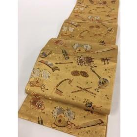 着物 名品 袋帯 黄土色 楽器 鼓 琴 笙 桜 金糸 箔 六通 正絹  リサイクル バイセル