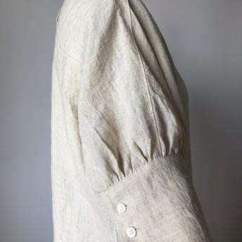 秋まで使える リネン ロング 半袖 ワンピース ベージュ(赤 ネイビー)