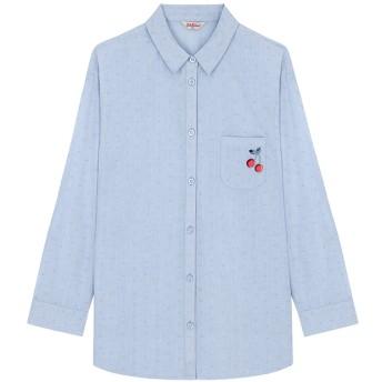 【6】コットン ボーイフレンドシャツ チェリージャガード チェリー プレースメント