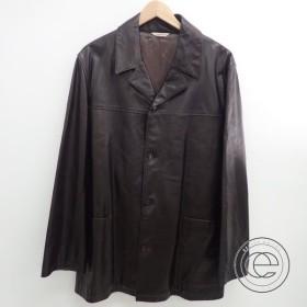 HERMES エルメス  カーフレザー  シングルジャケット52  ダークブラウン  メンズ