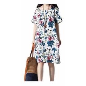[1/2style ニブンノイチスタイル] 花柄 ワンピース レディース フレア マタニティ ゆったり オフィス ルーム ウェア リゾート風 セレブ