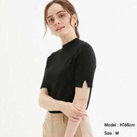 (GU)ハイネックスリットスリーブセーター(半袖) BLACK XXL