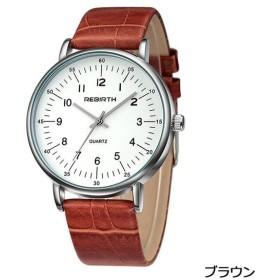 PHCOOVERS オシャレ アナログ 腕時計 メンズ レディース 男女兼用 本革 バンド ウォッチ (ブラウン)