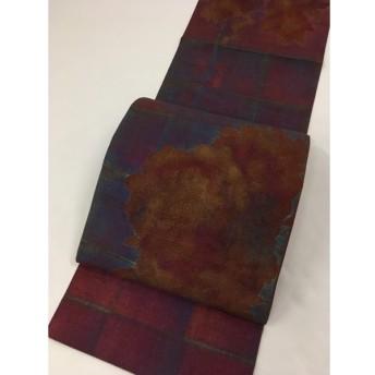 着物 美品 名品 袋帯 赤紫 花丸文 格子 梅 菊 汕頭刺繍 金彩 紬地 正絹 リサイクル バイセル   PK70
