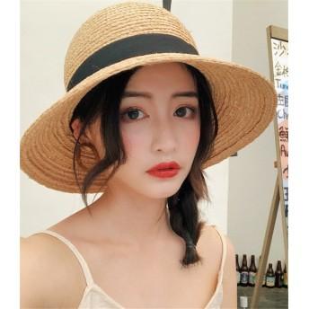 2019年夏新作 韓国ファッション 大きい麦わら帽子 女性 夏 休暇 蝶結び 日焼け止めビーチ帽子 バイザー 日焼け止め