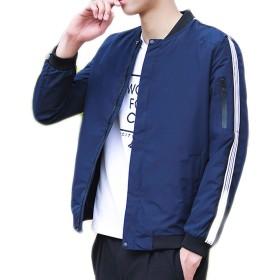 (コズーン)KO ZOON B56 ma-1 ジャケット メンズ 薄手 袖 ライン メンズファッション (S, 紺)