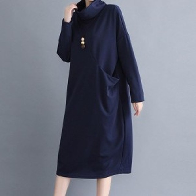 韓國ファッション ワンピース レディース 長袖ワンピース ミモレ丈 ハイネック シンプル