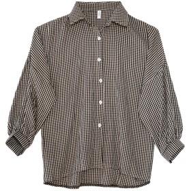 YiqiFly レディース トップス シャツ ブラウス ゆるっとランタンスリーブの長袖 ブラウス ギンガムチェックシャツ(黑 L)
