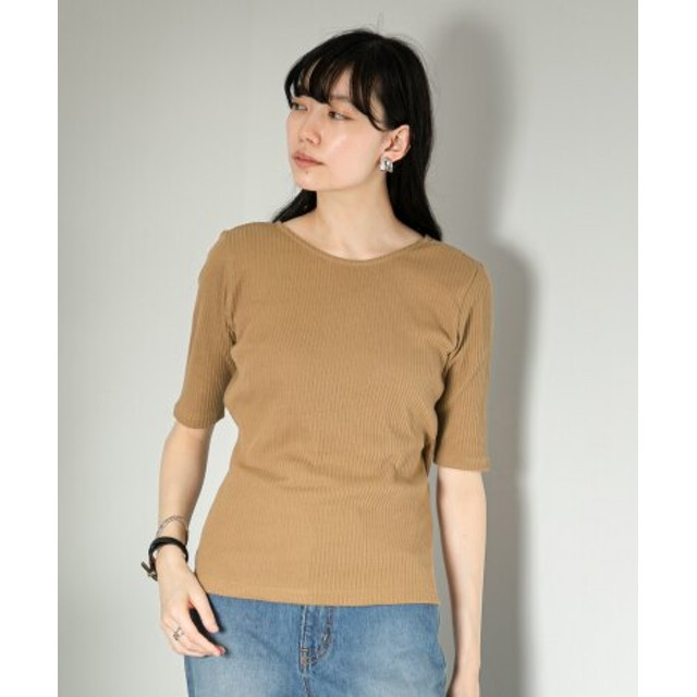 SENSE OF PLACE(センスオブプレイス) トップス Tシャツ・カットソー バックカシュクールトップ(5分袖)