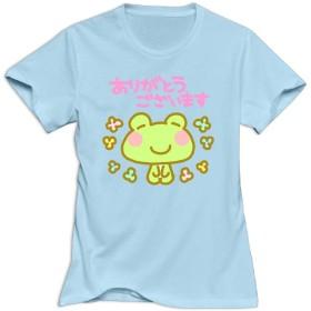 感謝の気持ちを表すカエル アニマル tシャツ かわいい動物果物図案プリント オシャレtシャツ 半袖 おもしろ デザイン T-shirt Animal 柄 アニメ