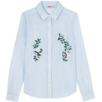 【12】コットン ティッキングストリップシャツ 刺繍付 スプリングバード プレースメント