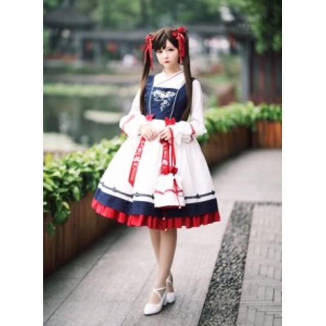 ロリータ SIKA LOLITA 華ロリ ジャンパースカート ジャンスカのみ 中華風 宮廷 アジアン リボン 刺繍