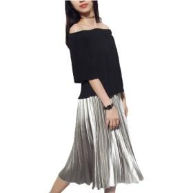 HAPPYJP® 不規則 プリーツ・スカート レディースファッション ハイウエスト 緩さの腰のスカート 光沢 ピカピカ (銀色)