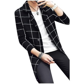 Tootess Men's Simple Plaid Notch Lapel Kintted Trench Coat Outwear Black S