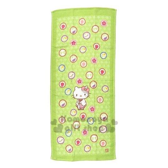 〔小禮堂〕 Kitty 日本內野Uchino紗布長毛巾《綠.和服.站姿.圓型糖果.滿版》34x80cm