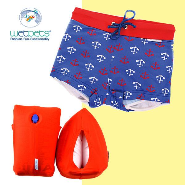 WETPETS 德國寶寶小男童泳褲/附臂圈-Baby George紅白錨-86cm Q-C-15-P-TE-6