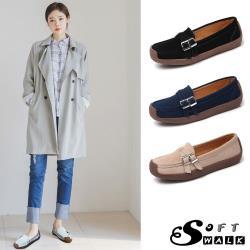 【SOFT WALK 舒步】真皮翻絨質感交叉皮帶釦飾軟底休閒蝸牛鞋(4色任選)