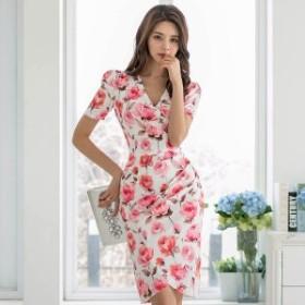 ローズ柄 ひざ丈 タイトワンピースドレス バラ 花柄 ドレス 半袖 パーティー 上品